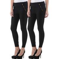 Westrobe Womens Plus Size Black Jeggings Combo of 2