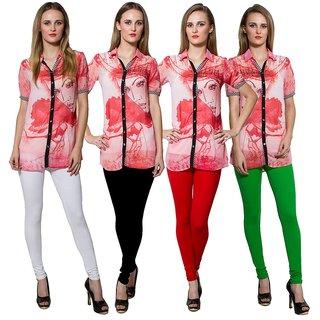 Both11 Multi Color Cotton Lycra Casual Legging (Set Of 4) (B11-FR-1-2-5-6)