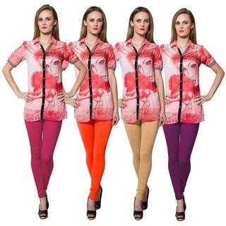 Both11 Multi Color Cotton Lycra Casual Legging (Set Of 4) (B11-FR-8-9-10-13)