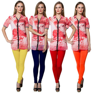 Both11 Multi Color Cotton Lycra Casual Legging (Set Of 4) (B11-FR-3-4-5-9)