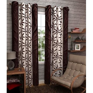 z decor polyester Brown floral single 7 feet door curtain (s-001)