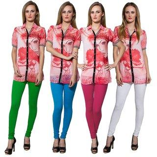 Both11 Multi Color Cotton Lycra Casual Legging (Set Of 4) (B11-FR-6-7-8-1)