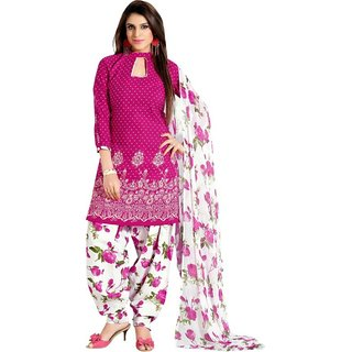 RapidDukan Un-Stitched Pink Color Patiyala Salwar Suit Dupatta Material SF461