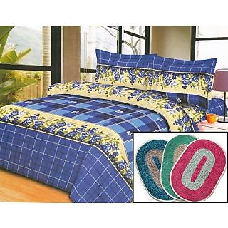 K Decor double bed sheet with two pillow covers 3 bath mats