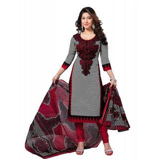 NM Textile Maroon Cotton Unstitched Dress Material