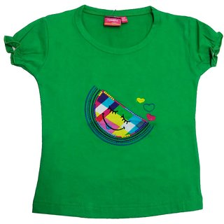 Tomato 30 Green Casual T-Shirt For Girls
