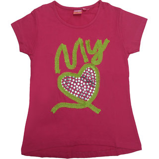 Tomato 32 Rani Pink Casual T-Shirt For GirlS