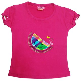 Tomato 34 Rani Pink Casual T-Shirt For Girls