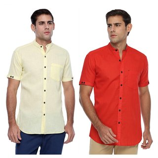 Wajbee 100 Percent Cotton Light Orange and Red Color Half Sleeve Shirt-Pack of 2