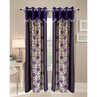 Homefab India Set of 2 Designer Floral Purple Long Door Curtains