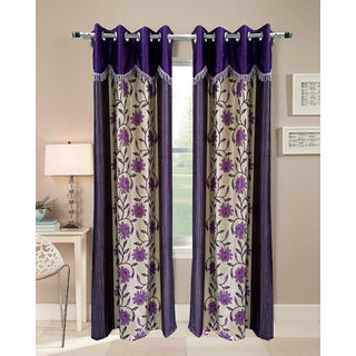 Homefab India Set of 2 Designer Floral Purple Long Door Curtains