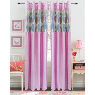 Buy Homefab India Set Of 2 Russel Net Pink Window Curtains Online