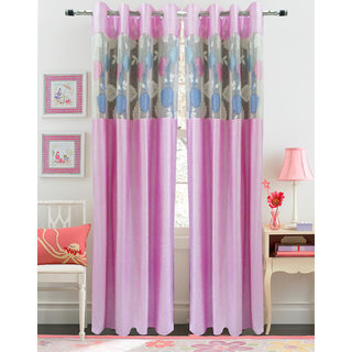 Homefab India Set Of 2 Russel Net Pink Long Door Curtains