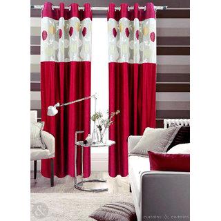 Homefab India Set of 2 Russel Net Maroon Long Door Curtains