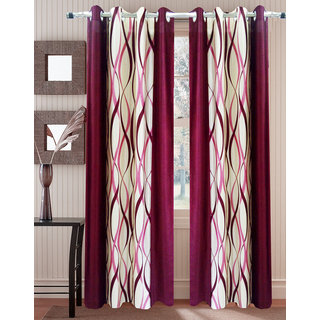 Homefab India Set of 2 ZigZag Maroon Window Curtains