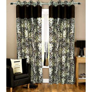 Homefab India Set of 2 Marble Stylish Coffee Long Door Curtains