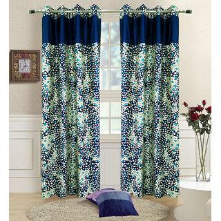 Homefab India Set of 2 Marble Stylish Blue Window Curtains