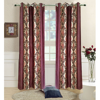 Homefab India Set of 2 Jaselmeri Maroon Long Door Curtains