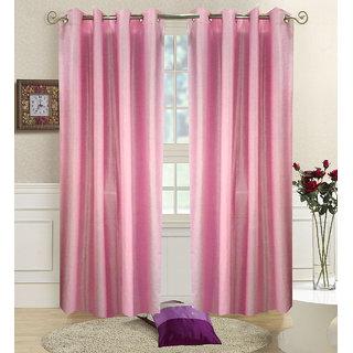 Homefab India Set Of 2 Plain Baby Pink Window Curtains