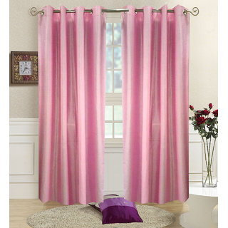 Homefab India Set Of 2 Plain Baby Pink Long Door Curtains