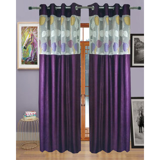 Homefab India Set of 2 Russel Net Purple Long Door Curtains