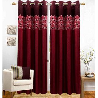 Homefab India Set of 2 Polyester Maroon Window Curtains