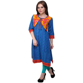 Prakhya Printed Womens Long straight cotton kurta-SW2038BLUE