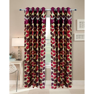 Homefab India Set of 2 Designer Leaf Maroon Door curtains