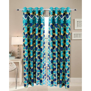 Homefab India Set of 2 Designer Leaf Aqua Window curtains