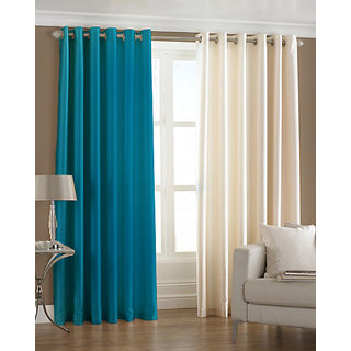 Homefab India Set of 2 Royal Silky Multi Color Window Curtains