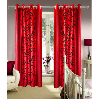 Homefab India Set Of 2 Kolaveri Red Window Curtains