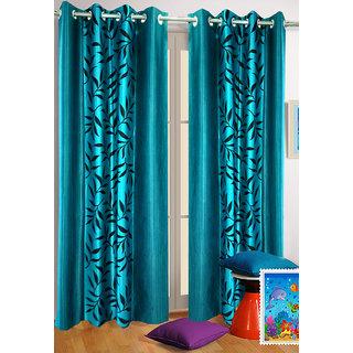 Homefab India Set of 2 Kolaveri Aqua Blue Long Door Curtains