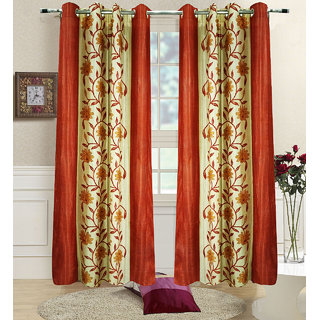 Homefab India Set of 2 Floral Rust Long Door Curtains