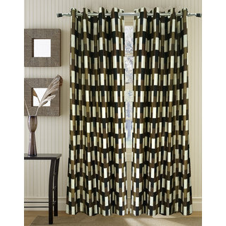 Homefab India Set of 2 Embossed Multi Color Window Curtains