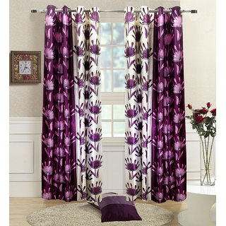 Homefab India Set Of 2 Wine Long Door Curtains