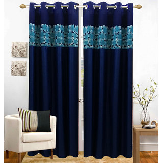 Homefab India Set of 2 Polyester Blue Window Curtains