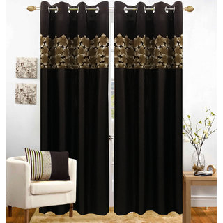 Buy Homefab India Set Of 2 Polyester Coffee Window Curtains Online