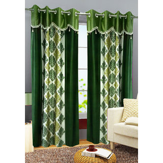 Buy Homefab India Set Of 2 Designer Damask Green Window Curtains