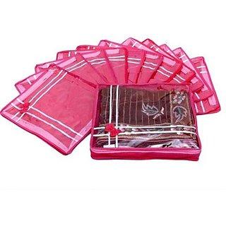 Fashion Bizz Premium Pink Bow Multi Saree Covers Set of 12 Pcs Combo