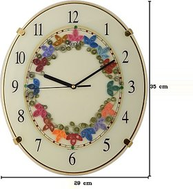Ajanta Analog Wall Clock Ivory, With Glass Beige Color