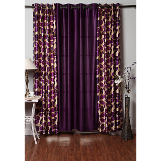 Homefab India Set of 3 Multi-Color Window Curtains