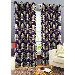 Homefab India Set of 2 Traingle Purple Window Curtains