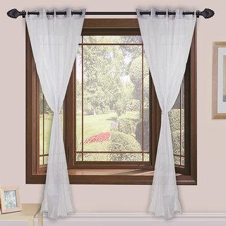 Buy Homefab India Set Of 2 Tissue White Transparent Window Curtains