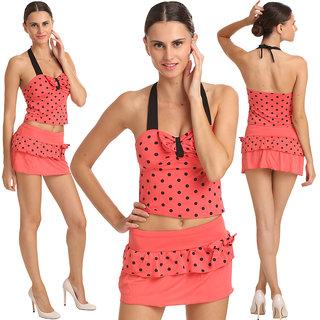 Swim Sexy Polka Dot Tie Front Halter Peach Tankini