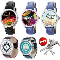 Jack Klein Combo Of Synthetic Leather Multicolor Analog Round Wrist Watch And Swiss Knife