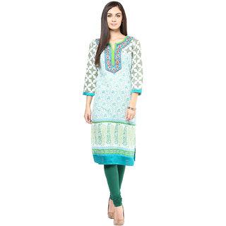 Prakhya Embroidered Womens Long straight cotton kurta-SW792GREEN