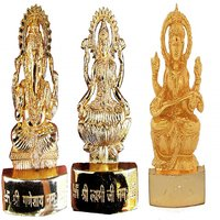 Gold Plated Ganesh Laxmi Saraswati Idols - 2.9 Inches