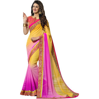 Khoobee Pink & Yellow Georgette Embroidered Saree With Blouse