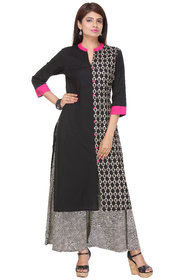 Riti Riwaz Cambric Cotton Pink  Black Mandarian Collar Printed Kurta With Palazzo VARAW15210507PZ