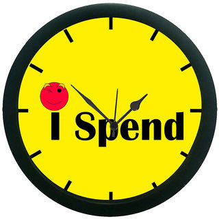 AE World Yellow I Spend Wall Clock (With Glass)